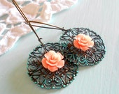 Shabby Chic Patina Lace Rose Earrings - Romantic Pink Flowers - Vintage Turquoise Antique Brass Filigree
