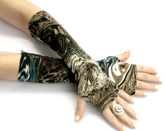 Deep Ocean fingerless gloves - Arm Warmer Silky  Goth Yoga Dark Cycling Fusion  Chik  Boho Earth  Gypsy Bellydance