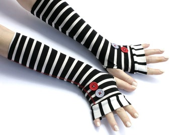 Black and White striped fingerless gloves with large buttons -mittens victorian goth yoga stripes cycling