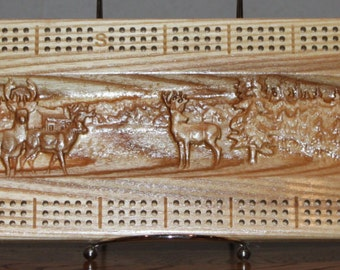 Outdoor Deer Scene Made From White Ash