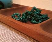 Mid Century Modern teak tray divided wood serving tray center piece Retro home decor