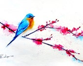 Bluebird Painting - Bird Art - Cherry Blossoms - Watercolor Painting - Limited Edition 14/200 - Print- Watercolor Art Print