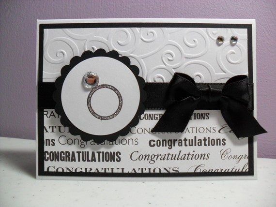 SALE - Handmade Engagement Card - Congratulations - Engagement Ring Card