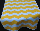 "12"" X 72"" YELLOW CHEVRON RUNNER- Yellow and white Table Runner with a serger him"