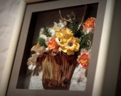 "Brown Basket, clay flowers, 3D oil painting, unique, 9""x9"""