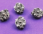 Bali Sterling Silver Fancy Coin Bead, Intricate Wirework Scroll Pattern and Granulation, Oxidized Finish, Gorgeous Accent, 1 Piece (BA-5115)