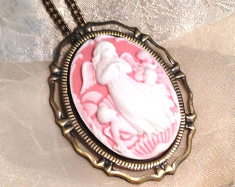 Guardian Angel Cameo Necklace & Brooch Convertible Pendant White on Pink in Antique Brass Protective Angel Mother With Children