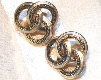 Vintage Damascene Earrings Clipon Celtic Trinity Three Circles Estate Jewelry Made in Spain