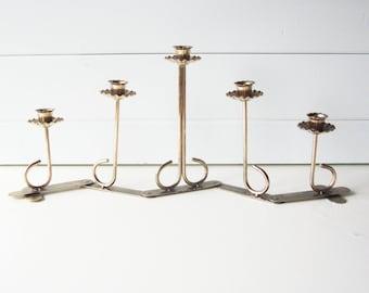 Brass Candelabra, Candle Holder, Wedding Decor, Hinged, Adjustable