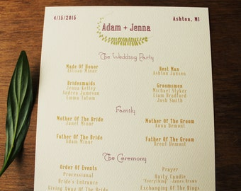 Fern Wedding Program Printable Or Ship