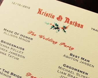 Holiday Wedding Program Printable or Ship