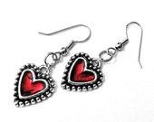 Red Heart Earrings, Red and Black Jewelry, Gift for girlfriend, Rocker Style, Silver Heart Earrings