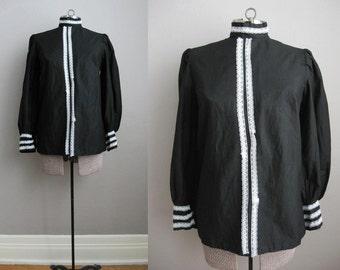 1960s Vintage Blouse Black Cotton 60s Victorian High Neck Blouse Lace / Medium