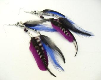 Long Purple Black Feather Dangle Earrings