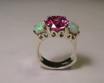 Pink Tourmaline And Opal Sterling Silver Ring