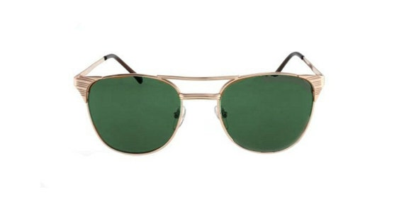 SALE Gold Clubmaster Sunglasses, Deadstock Wayfarer Glasses, Gold Frame with Green Lenses, Unisex