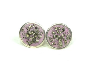 Posh in Pretty Pink Concrete and Pyrite Stud Post Earrings -sterling silver-