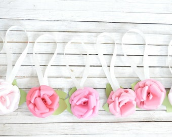 Wedding Paper Flowers-Pink Ombre Paper Flowers- Wedding Chair Decorations, Wedding aisle flowers