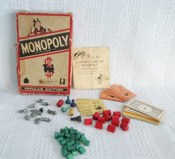 Vintage Monopoly Game 1954 Steel Game Pieces Wood By