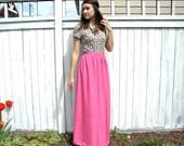 Full Maxi Skirt, Bright Pink High Waist Long Skirt, Large