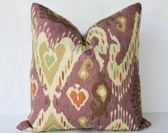 designer pillow 16'' square suzani ikat print Purple - rust -  green decorative pillow linen toss pillow accent pillow