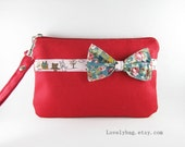 Little Bow Red Clutch, iPhone 5 Wallet, iPhone 5 Wristlet, iPhone Wristlet,Cell Phone Wristlet,Zipper Pouch