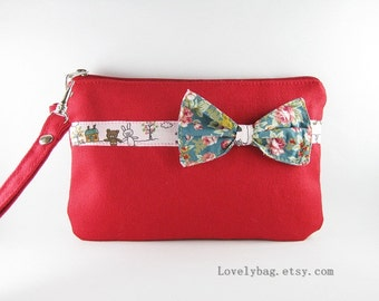SUPER SALE - Red with Little Bow Clutch - iPhone 5 Wallet, iPhone Wristlet, Cell Phone Wristlet, Cosmetic Bag, Zipper Pouch - Made To Order
