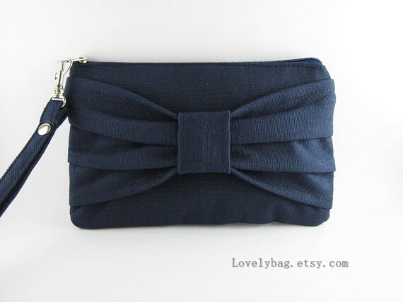 SUPER SALE - Navy Bow Clutch - Bridesmaid Wristlet, Bridesmaid Gift, Wedding Wristlet, Wedding Gift, Cosmetic Bag,Camera Bag,Zipper Pouch