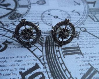 Steampunk Nautical Antique Silver Compass Cuff Links Cufflinks