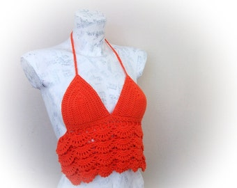 Orange Halter Top-Tank top open back- summer-xs halter top-Crochet Hippie Fringe Halter Top-gothic top