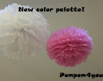 2 Medium Tissue paper Pom Poms & FREE 2 MINI Pom Poms