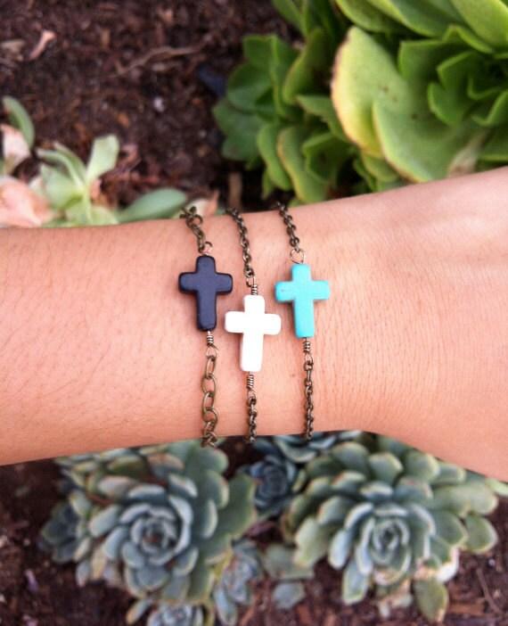RESERVED for Kristina - Turquoise Cross Bead Bracelet