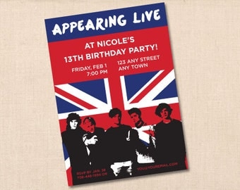 personalized ONE DIRECTION  birthday party invitation