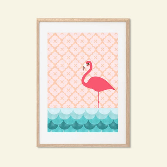 FLAMINGO | Pink Poster : Modern Animal Illustration Retro Art Wall Decor Print