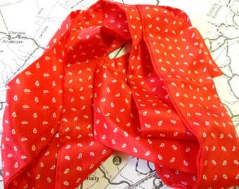 Vintage Red Silk Necktie / Scarf Glentex Brand