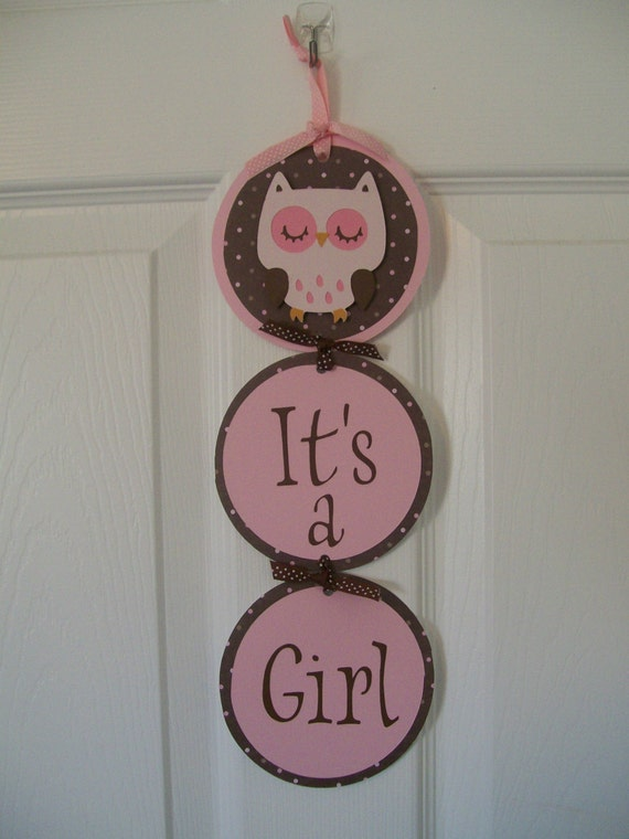 Its a girl pink brown owl hospital door banner girl pink for Baby shower door decoration