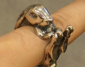 Rolf the Rabbit Ring in sterling silver heavyweight bunny hare