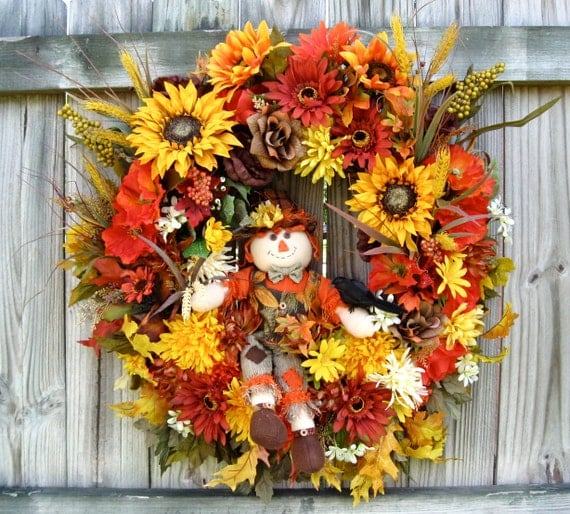 SALE Friendly Harvest Scarecrow Sunflower and Poppies Wreath, Fall Holiday Decor, crow, XXL, mums, roses