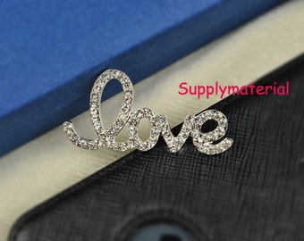 1PCS Bling Crystal LOVE Flatback Alloy jewelry Accessories materials supplies