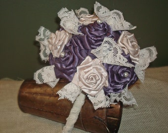 Purple and Champagne Satin Flower Bouquet