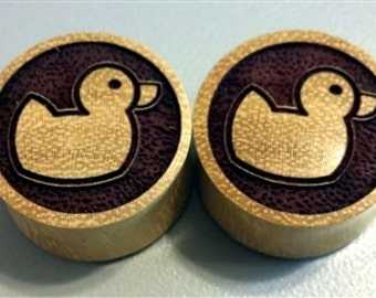 """Custom Handmade Organic """"Rubber Ducky"""" Wood Plugs - You choose wood type/color and size 7/16"""" - 30mm"""