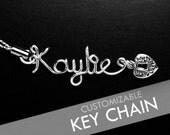 CUSTOM Personalized Wire Name / Word Phone Strap Key Chain with Trinket / Charm