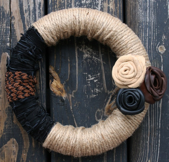 Wreath, Leather and Jute Wreath
