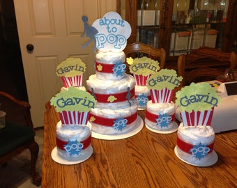 About To Pop Diaper Cake Popcorn Theme Package/ popcorn baby shower/ about to pop party