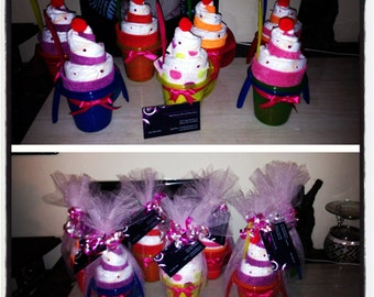 Baby Washcloth Diaper Sippy Cup Sundae / Baby Shower gift / centerpieces