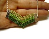 Green Necklace, Ombre Green, Chevron Necklace, Cord Rope Necklace, Macrame Necklace, Knot Necklace, Arrow Necklace, OOAK