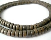 "One 27.5"" Strand of 7mm Pukalet Graywood Wooden Beads"