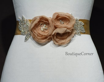 Bridal Sash-Chiffon Flower Sash-Champagne-Crystals-Rhinestones-Freshwater- Pearls-Wedding Accessory-Ribbon-Bridal Belt