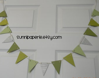Small Paper Pennant Banner in Greens, Dictionary