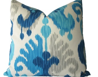 Decorative Indoor Outdoor Ikat Abstract Paisley Pillow Cover, Turquoise, Blue, Grey, 18x18, 20x20, 22x22 or lumbar,  Throw Pillow